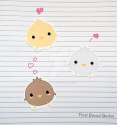 Chibi Chick Stickers and Magnets by pixelboundstudios