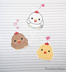 Chibi Chicken Stickers and Magnets by pixelboundstudios