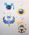 Chibi Cosmog/Cosmoem/Solgaleo/Lunala Stickers