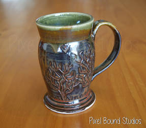 Hand Thrown Tree Themed Ceramic Mug by pixelboundstudios