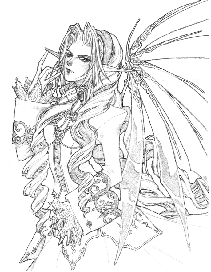 fairies gothic coloring pages - photo#19