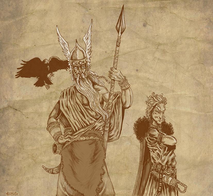 Odin, Loki and Huginn by koyotenahual