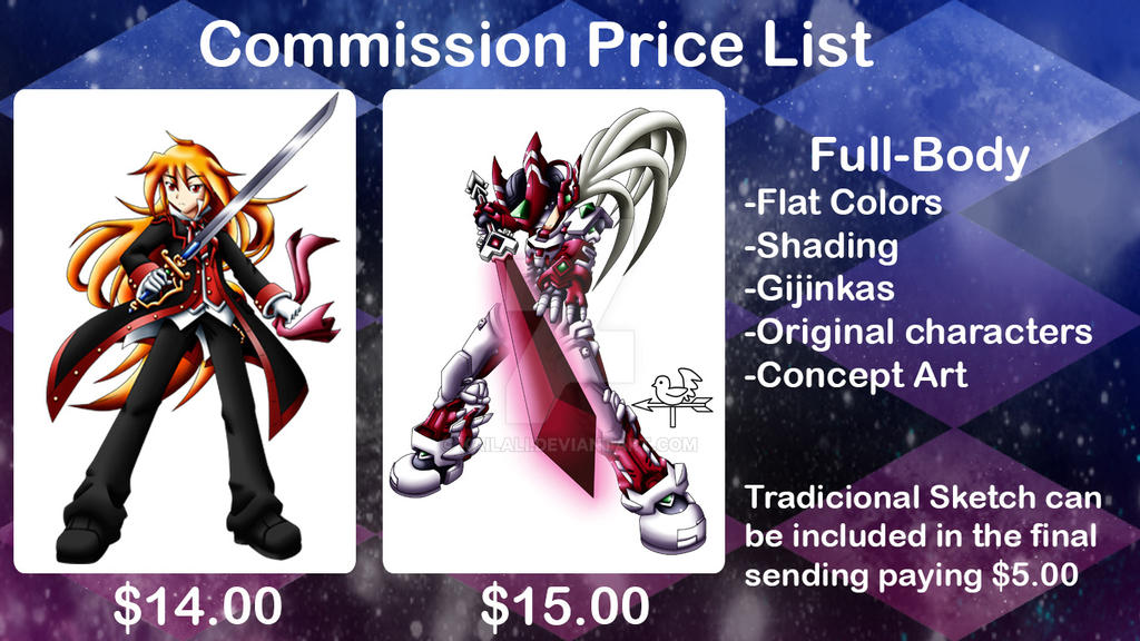 Commission Price List Full body by kailali