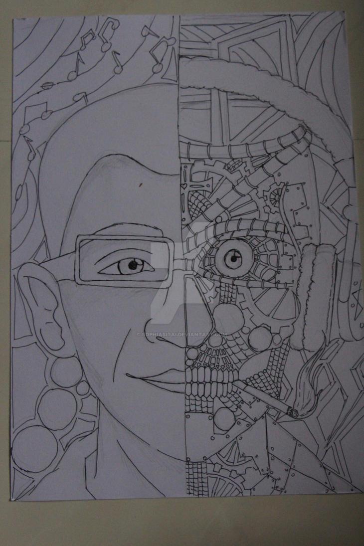 Half human - half Robot by sophiasitai on DeviantArt