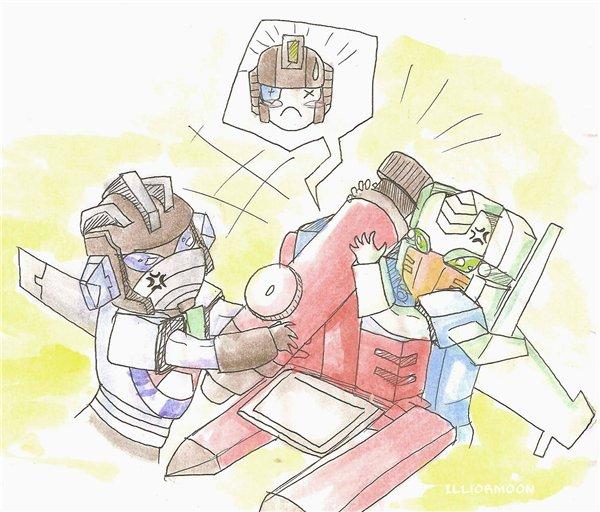 Wheeljack and Brainstorm devide Perceptor by IlliorMoon