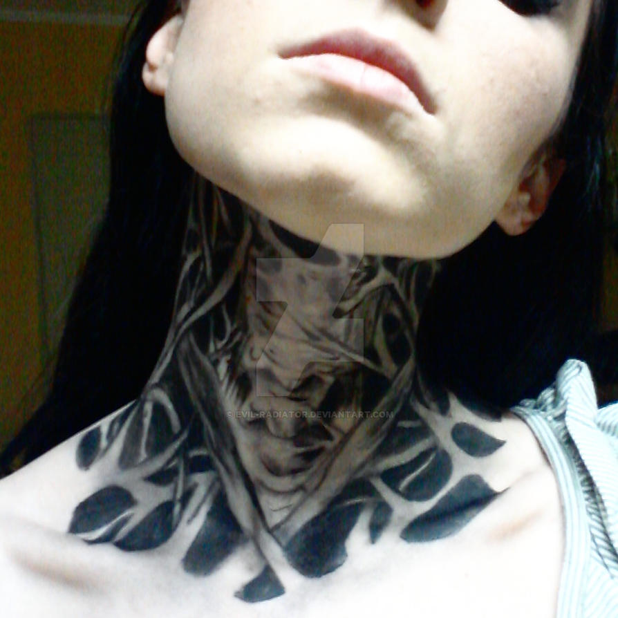 Neck And Jaw Tattoo: Old Work: Zombie Boy Neck Tattoo By Evil-radiator On