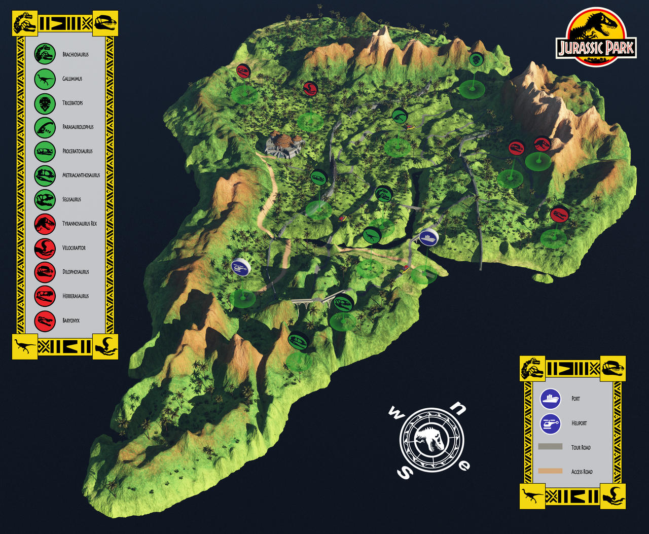 Jurassic park map park map jurassic park wiki fandom powered by jurassic park map by chakotay on deviantart gumiabroncs Choice Image