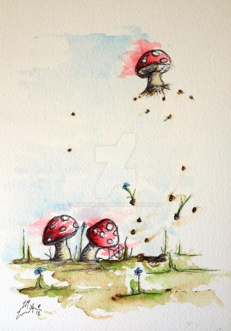 Popped up mushroom startled spider by atopikushi