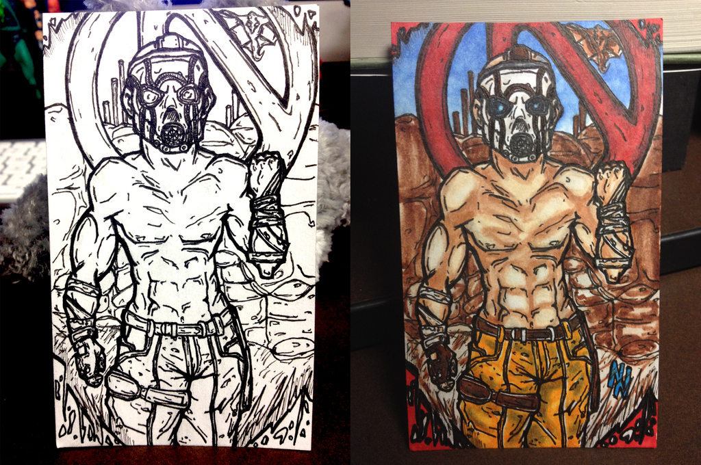 borderlands psycho doodle card by Axxerous