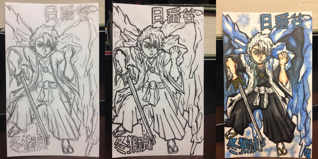 toshiro doodle card progress by Axxerous