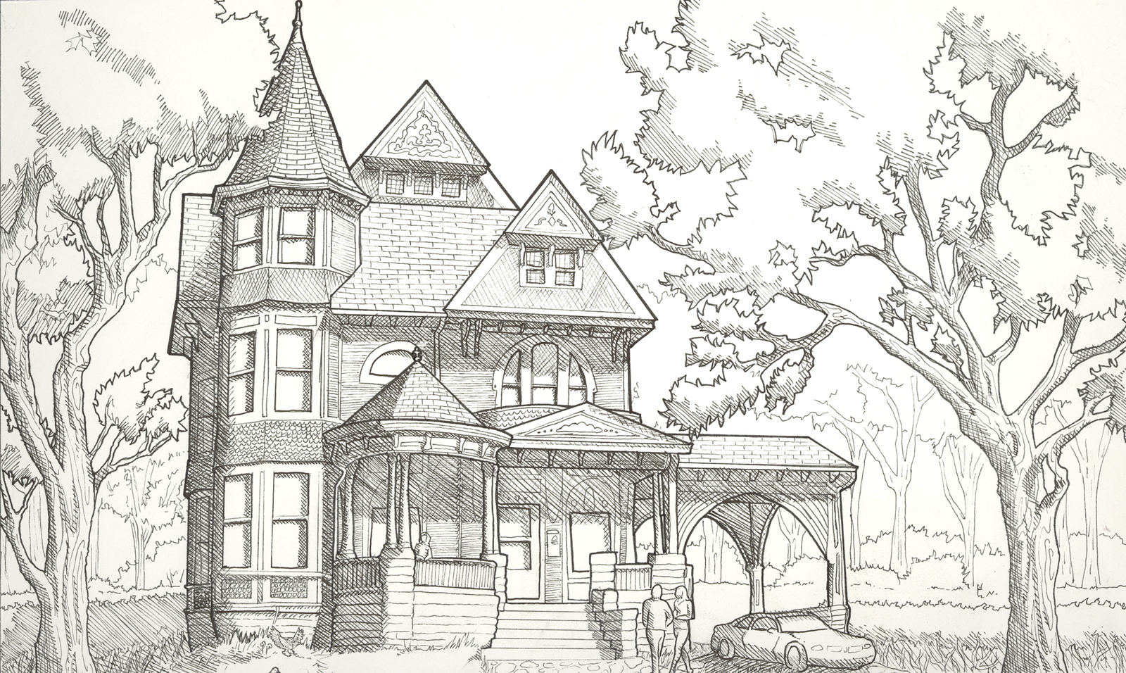 Victorian House Line Drawing The Image