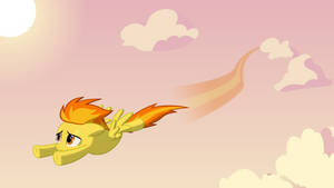 Spitfire flying through a cloudy sky by BaumkuchenPony
