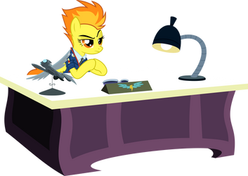 Spitfire at her desk by BaumkuchenPony