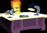 Spitfire at her desk