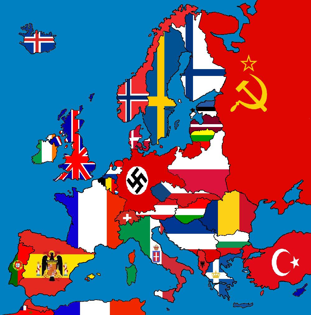 Blank Map Europe 1938