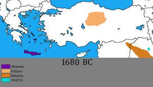 Greece and Anatolia in 1680 BC