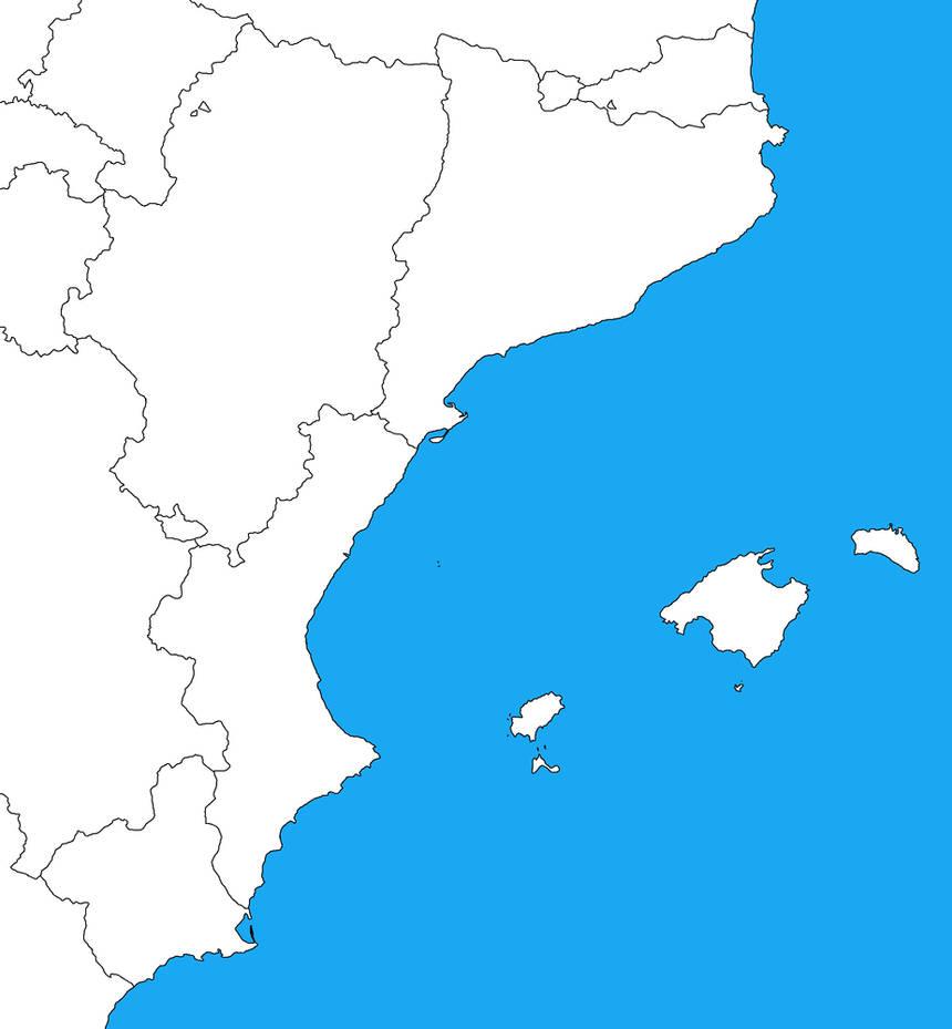 Map Of Spain Blank.Blank Map Of Eastern Spain By Dinospain On Deviantart