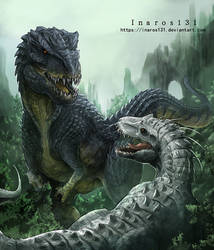 Vastatosaurus VS Indominus by Inaros131