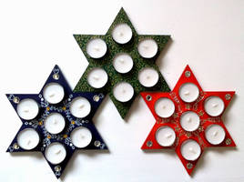 Christmas stars candles holders - choose your set