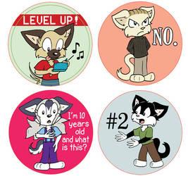 Button designs for the Kickstarter by chrispco