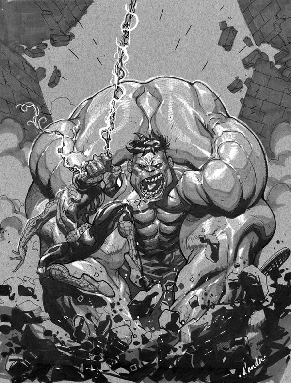 Spidey vs. Hulk by Chuckdee