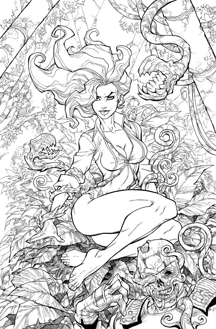 Line Art Comic : Arkhamcity poison ivy by chuckdee on deviantart