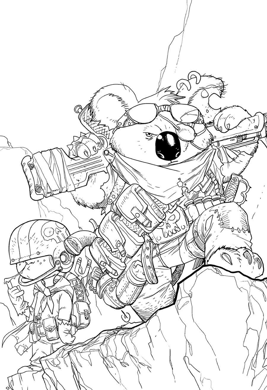 Line Drawing Koala : Murderin koala lineart by chuckdee