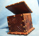 studded wooden box...