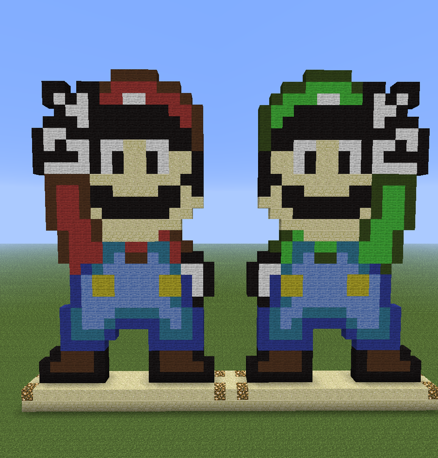 Captivating Minecraft Pixel Art   Mario And Luigi By PeterRaskThorstensen ...