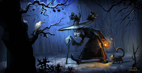 Witch creeping with her cat and crows