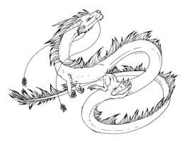 Free lineart: Eastern dragon by Dreikaz