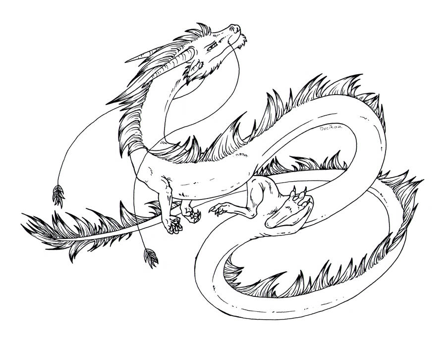 Line Drawing Jewel : Free lineart eastern dragon by dreikaz on deviantart