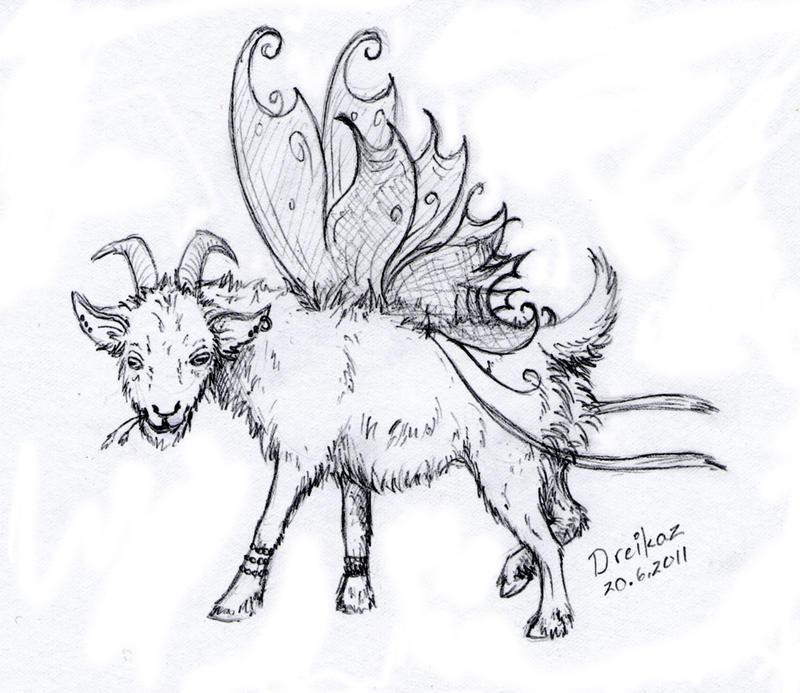 -AT- I'm a goat, fairy goat by Dreikaz