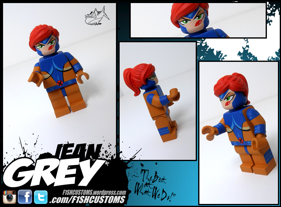Custom Jean Grey Gray end of X-Men Apocalypse minifigures on lego bricks