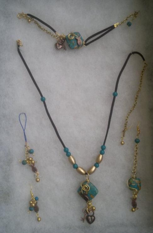 Turquoise stone and leather set by samirashamseddin