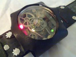 Steampunk bandolier clockwork device thing