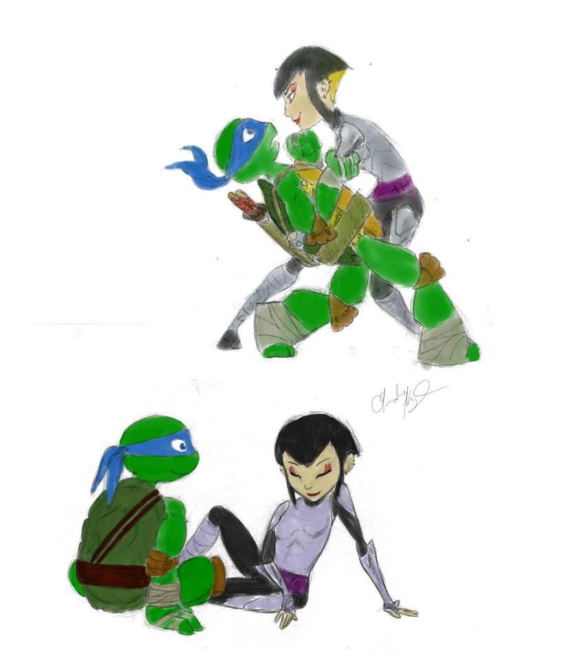 Leo and Karai sketches by HettyBobcat