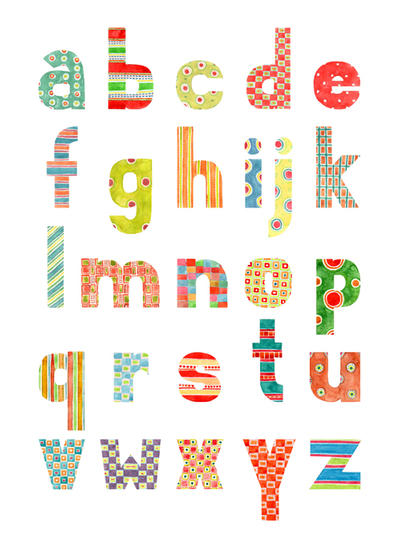 Alphabet - Watercolor patterns - lowercase by gb-illustrations on ...