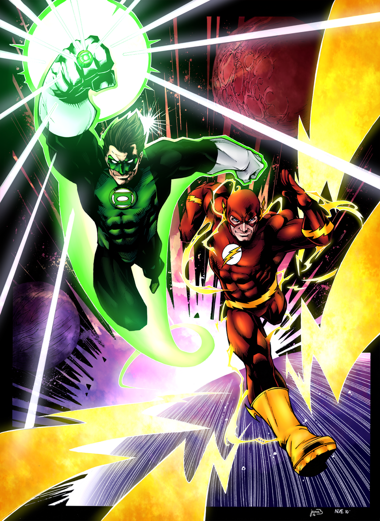 Green Lantern And Flash by Sorathepanda