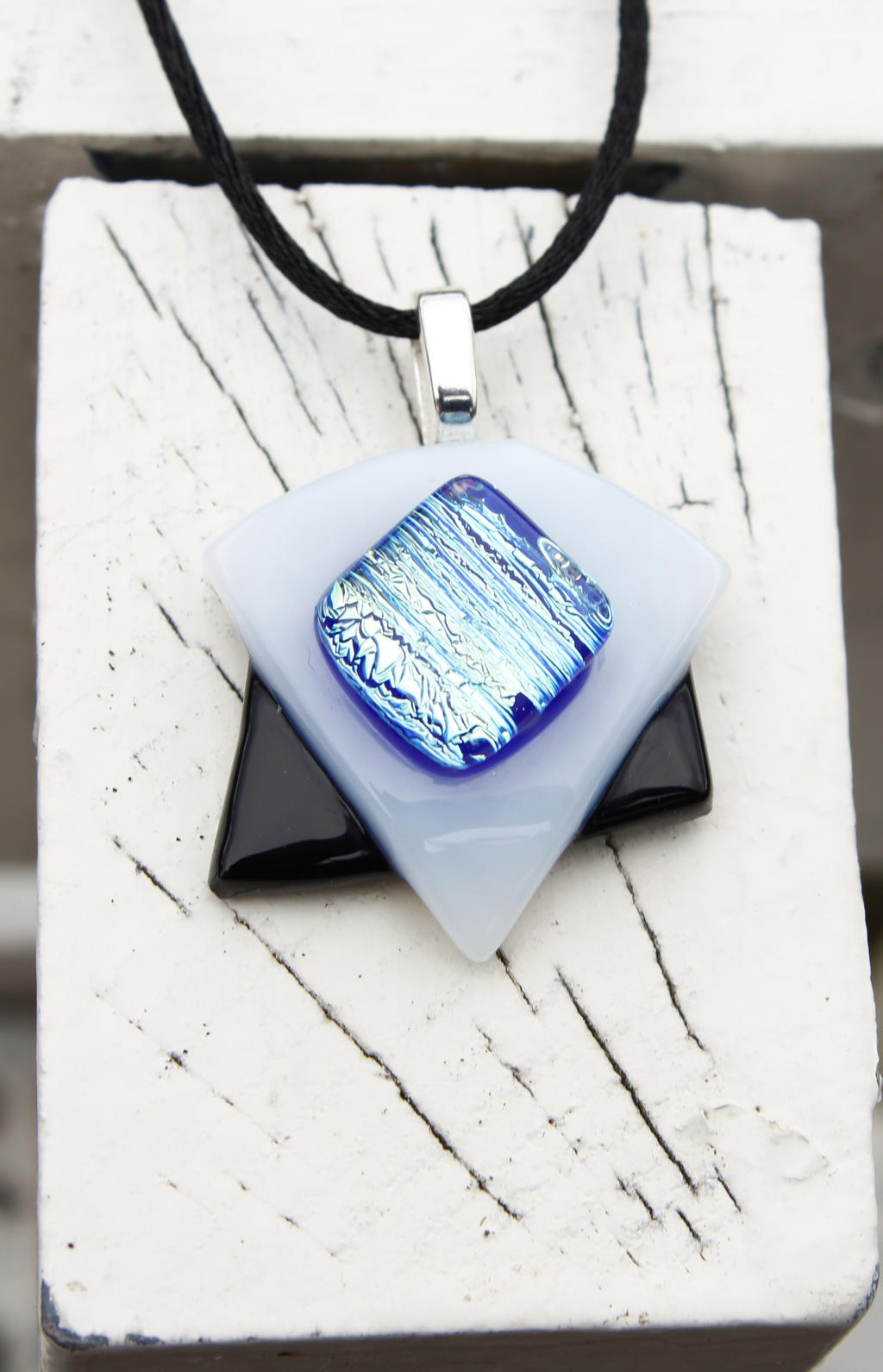 Dichroic Pendant - Black, white and Blue by Dimolicious
