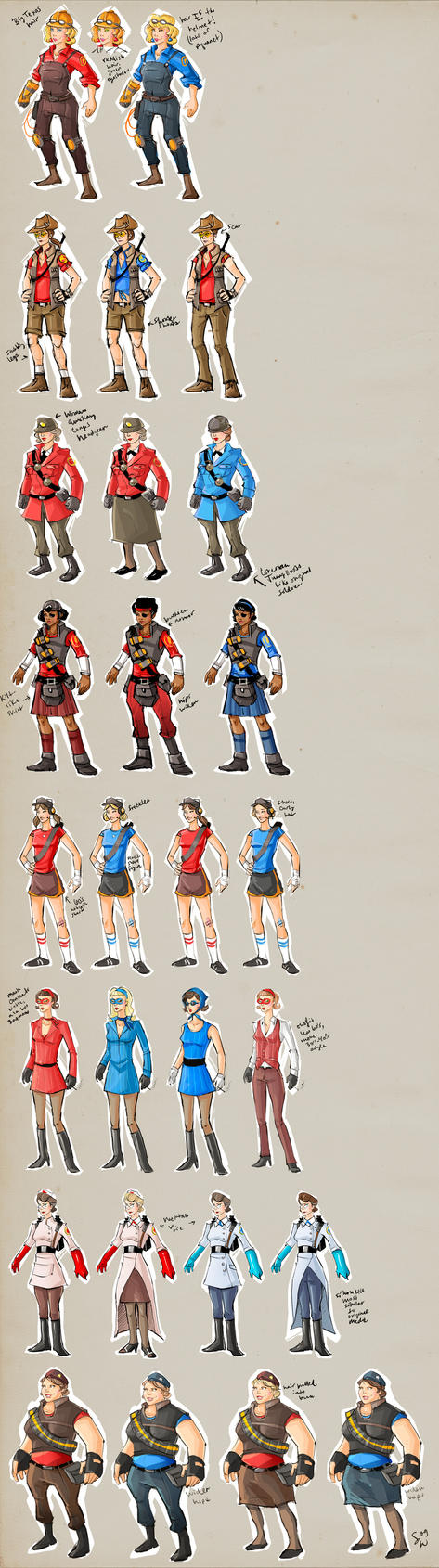 TF2 female designs v.2 by ChemicalAlia