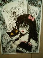 Creepy girl with Cat by LuckyLinda