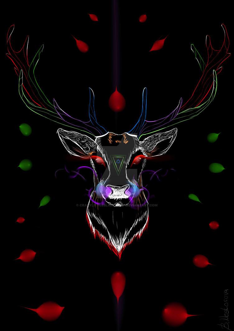 Psychedelic deer by CrazyLittleBlakcWolf