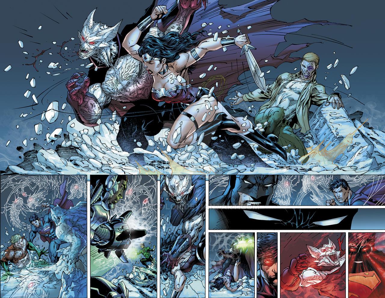 Justice League No.12 pgs 12-13 by sinccolor