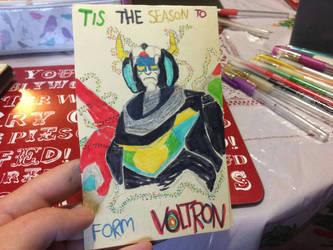 Voltron Christmas card by Rosanna-Bradley