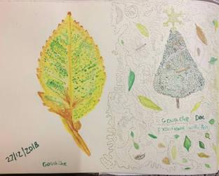 Gouache leef and Dot experiment. by Rosanna-Bradley