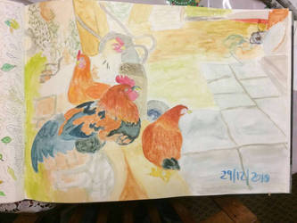 My Chicken's on a bench. by Rosanna-Bradley