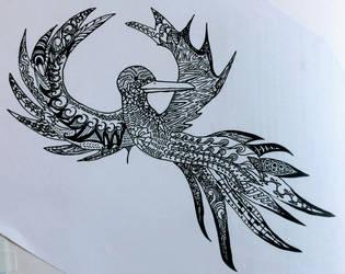zentangal bird. by Rosanna-Bradley