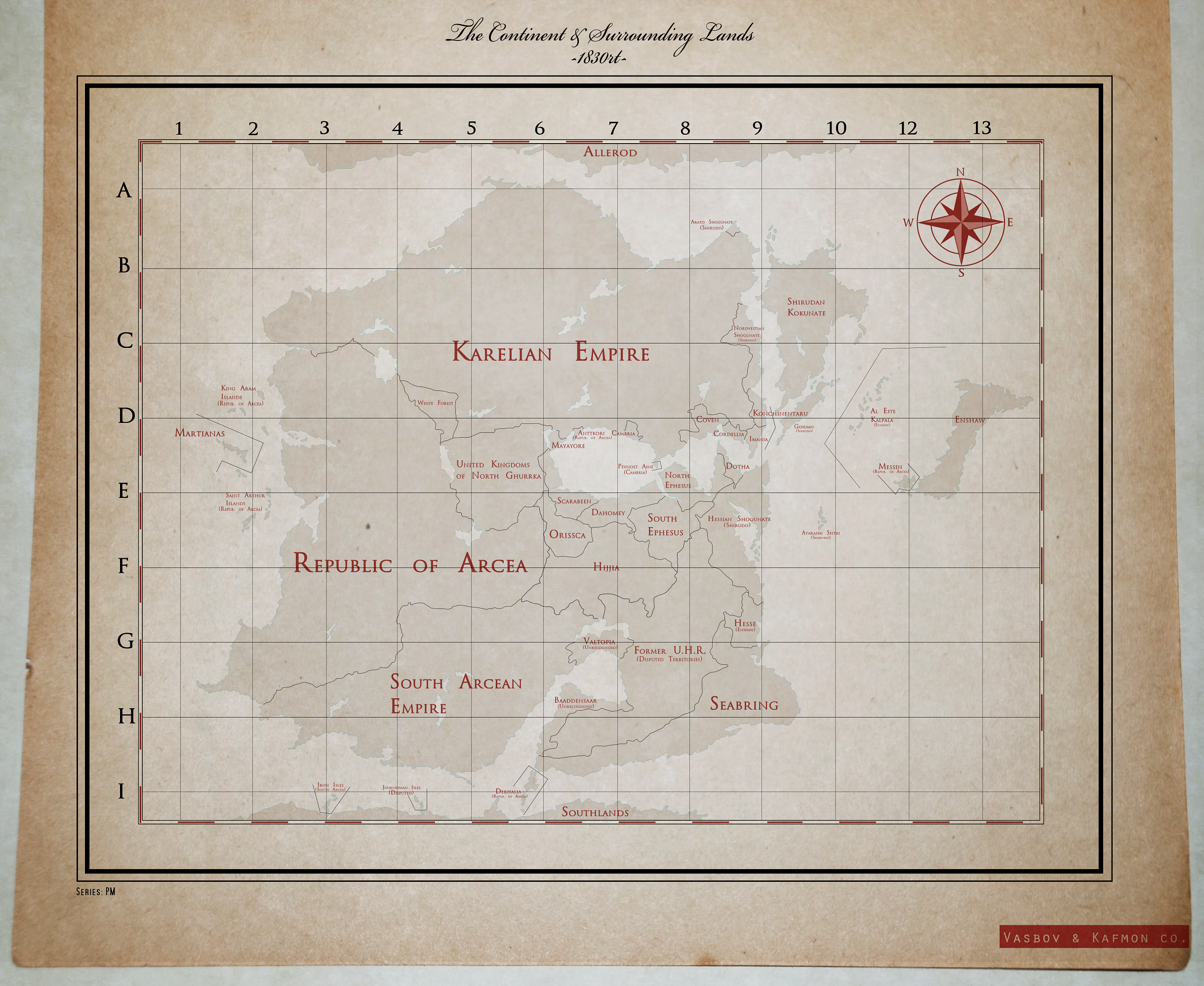 The Continent and Surrounding Lands - 1830 by KingWillhamII