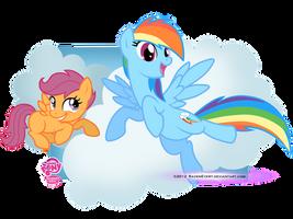Scootaloo and RainbowDash by RavenEvert